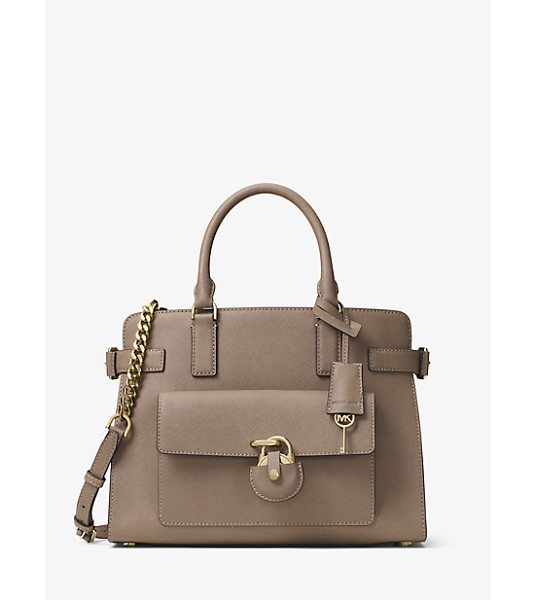 MICHAEL Michael Kors Emma Saffiano Leather Satchel in natural - Secure Your Style Status Under Lock And Key With Our...