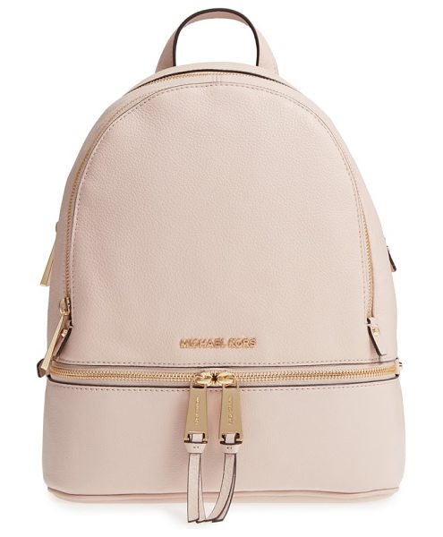 MICHAEL MICHAEL KORS 'extra small rhea zip' leather backpack in soft pink - Gleaming exposed zippers illuminate the compact...