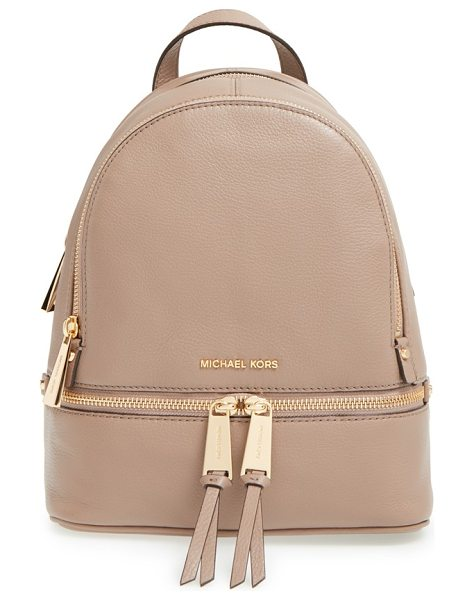 MICHAEL Michael Kors Extra small rhea zip leather backpack in dark dune
