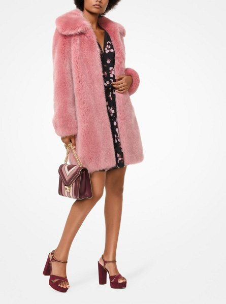 MICHAEL Michael Kors Faux Fur Coat in pink - A Faux Fur Coat Is The Key To Finishing Looks With...