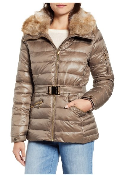 MICHAEL Michael Kors faux fur puffer jacket in beige - A soft faux-fur club collar adds to the luxe look and...
