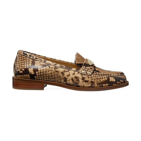 MICHAEL Michael Kors finley snakeskin-embossed leather loafers in camel