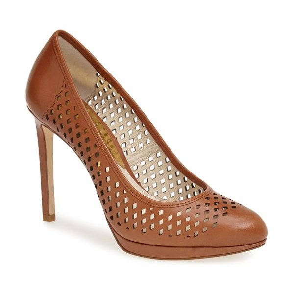 MICHAEL MICHAEL KORS florentine perforated platform pump in luggage - Diamond perforations lend modern edge to an almond-toe...
