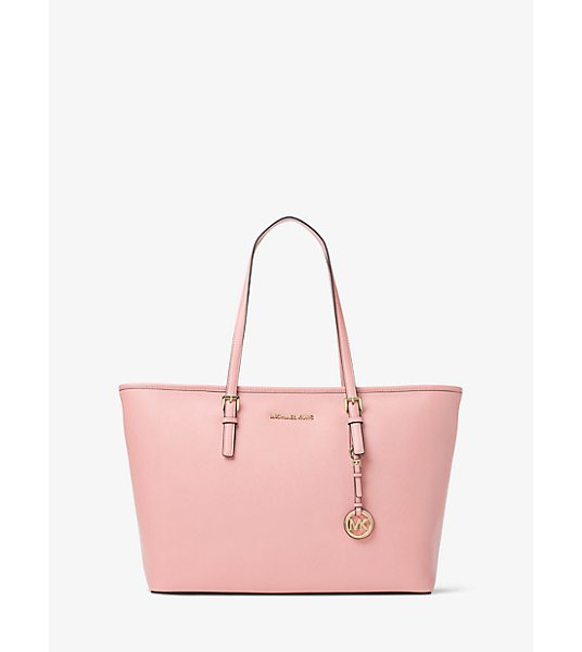 MICHAEL Michael Kors Jet Set Travel Large Saffiano Leather Top-Zip Tote in pink - A Cool Classic The Jet Set Travel Tote Is Crafted From...