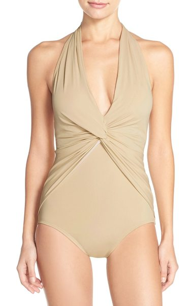 MICHAEL MICHAEL KORS front twist one-piece halter swimsuit - A shapely front twist anchors the plunging V-neckline...
