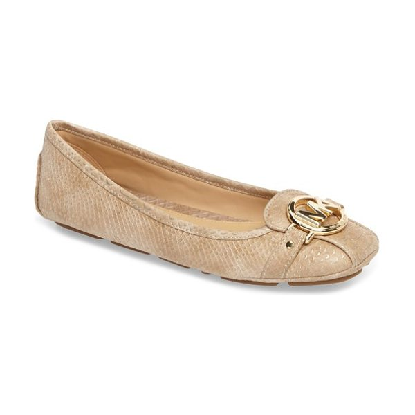 MICHAEL Michael Kors 'fulton' flat in pale gold - A gleaming logo medallion adorns the square toe of this...