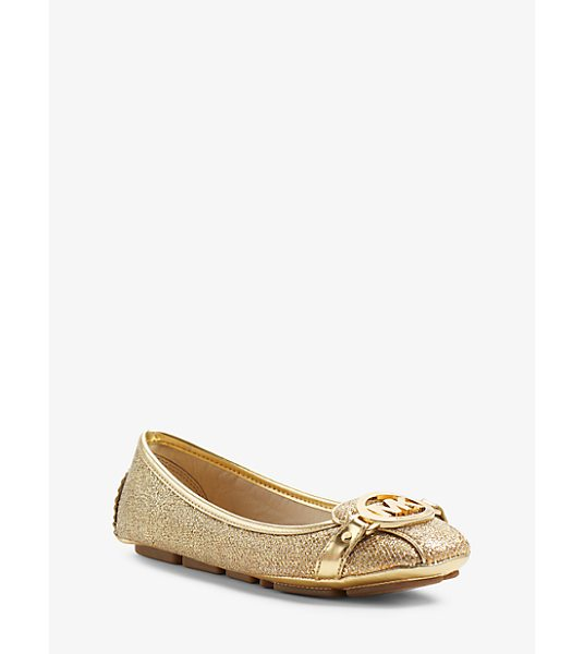 MICHAEL Michael Kors Fulton glitter leather moccasin in gold - Classic contemporary cult-worthy-the Fulton flat is a...