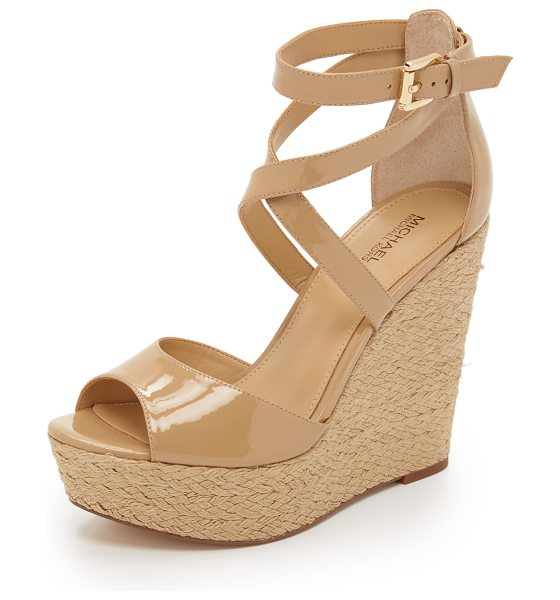 MICHAEL MICHAEL KORS Gabriella wedge sandals in nude - Braided jute trim wraps around the wedge heel and...