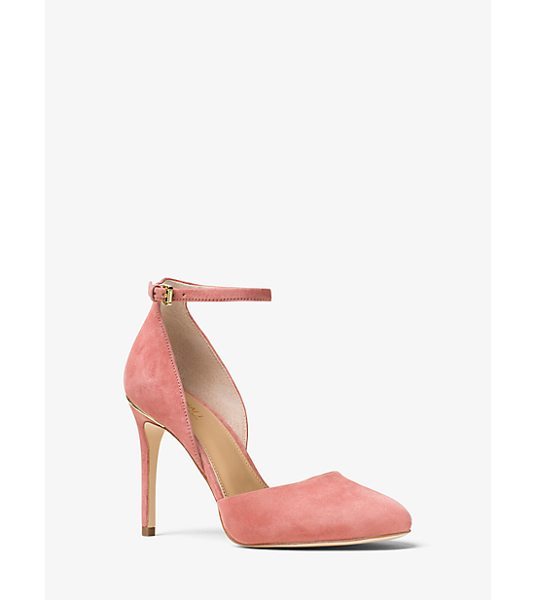 MICHAEL Michael Kors Georgia Suede Ankle-Strap Pump in pink - An Ankle Strap Adds A Flattering Twist Of Feminine...