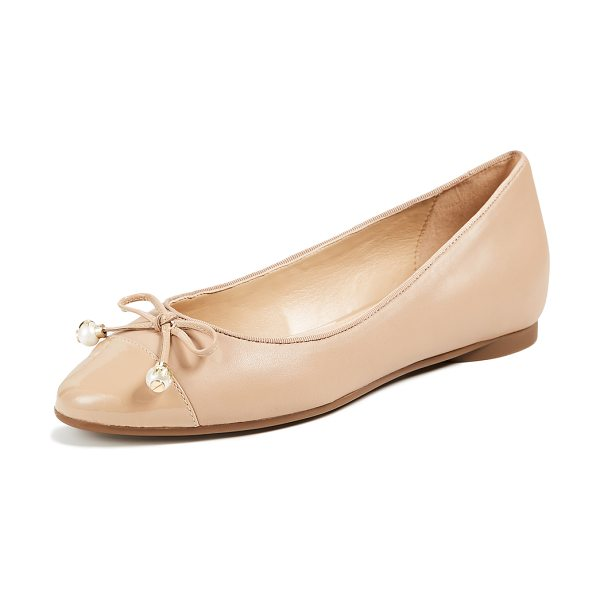 MICHAEL MICHAEL KORS gia ballet flats in toffee - Leather: Sheepskin Bow with shell pearls Ballet flats...