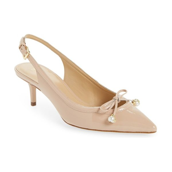 MICHAEL Michael Kors gia slingback pump in light blush - Pearly beads featuring gleaming MK logos elevate a...