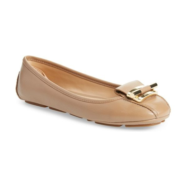 MICHAEL Michael Kors gloria flat in light khaki leather - Glinting, logo-embossed hardware lends a contemporary,...