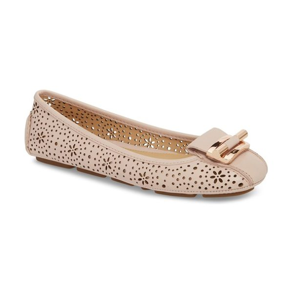 MICHAEL Michael Kors gloria flat in soft pink - Glinting, logo-embossed hardware lends a contemporary,...