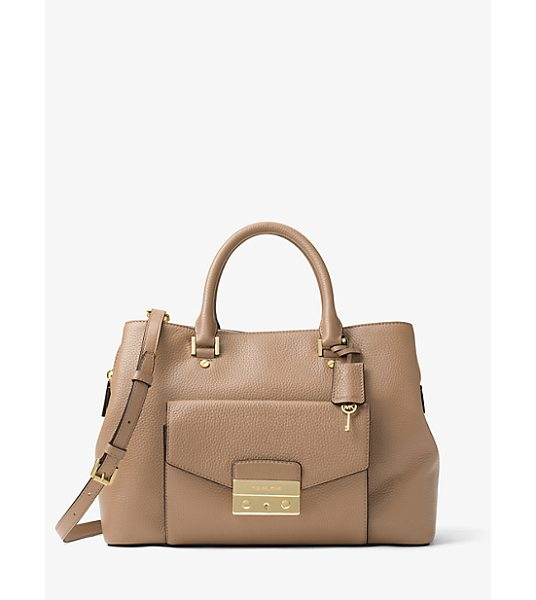 MICHAEL Michael Kors Haley Large Leather Satchel in natural - No Everyday Handbag Is Smarter Than The Haley. This...