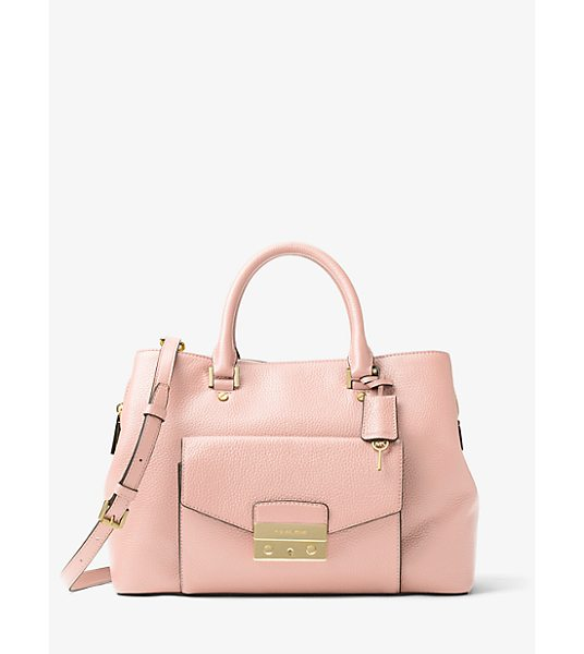 MICHAEL Michael Kors Haley Large Leather Satchel in pink - No Everyday Handbag Is Smarter Than The Haley. This...
