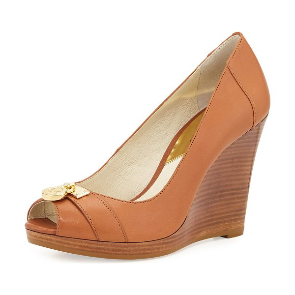 "MICHAEL Michael Kors Hamilton Leather Wedge Pump in luggage - MICHAEL Michael Kors leather pump. 3.8"" stacked wedge..."