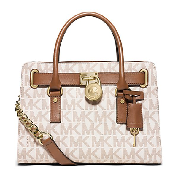 MICHAEL Michael Kors Hamilton Medium Logo Satchel in natural - Once An Icon Always An Icon. Our Hamilton Satchel...
