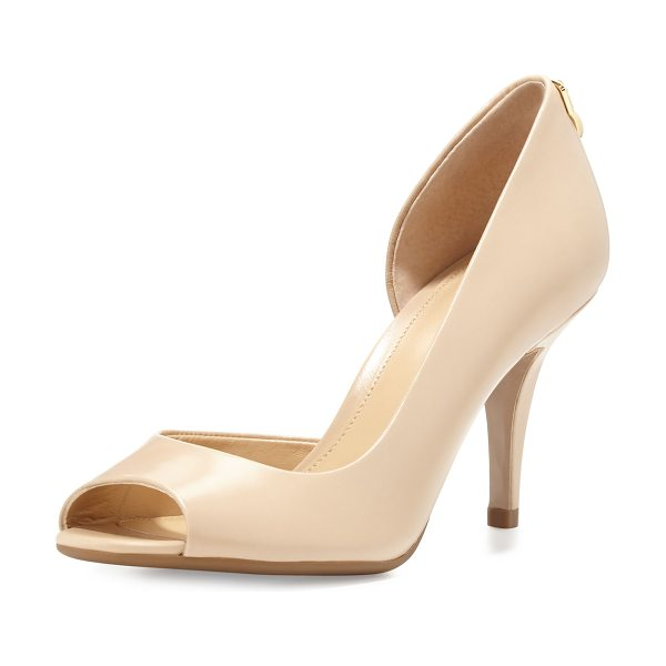 "MICHAEL Michael Kors Hamilton Open-Toe Flex d'Orsay Pump in nude - MICHAEL Michael Kors kid leather d'Orsay pump. 3""..."