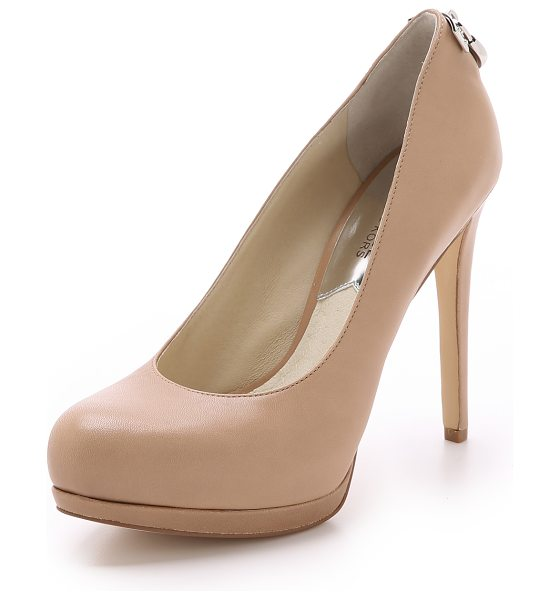 MICHAEL Michael Kors Hamilton pumps in dark khaki - A logo trimmed lock shines from the heel of these...