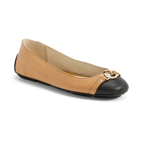MICHAEL MICHAEL KORS hampton ballet flat in suntan/ black - A lean ballet flat has an even lower profile thanks to a...