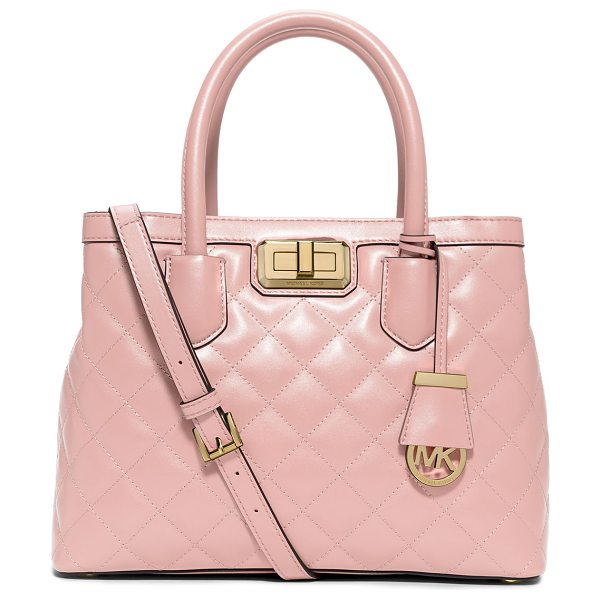 MICHAEL Michael Kors Hannah medium quilted smooth satchel bag in pink - Only at NM: Only Here. Only Ours. Exclusively for You....