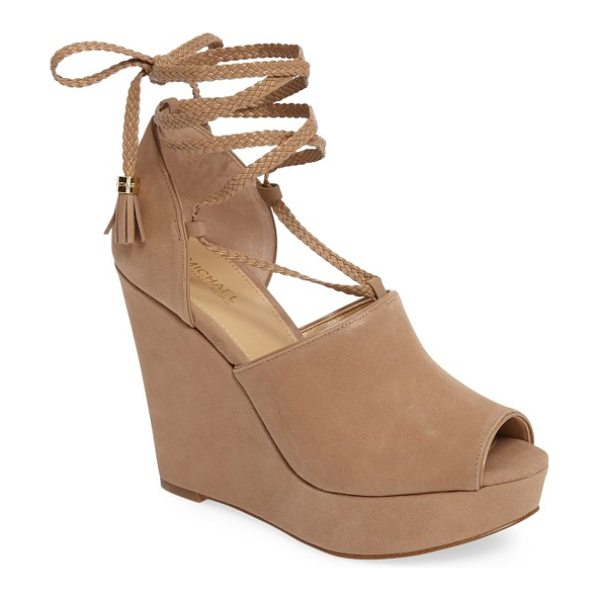 MICHAEL Michael Kors hastings platform wedge in dark khaki/ khaki suede - A dramatically sculpted wedge and a chunky rocker...