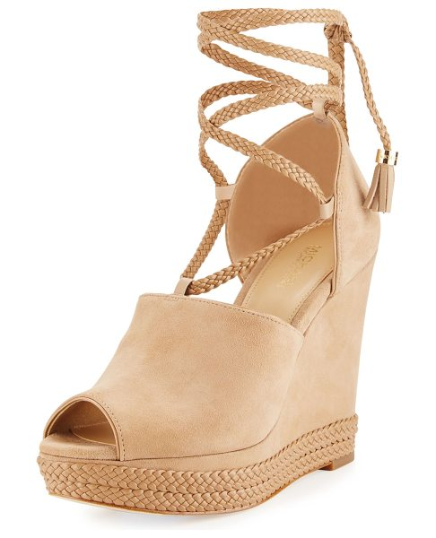MICHAEL Michael Kors Hastings Suede Ankle-Wrap Wedge Sandal in dark khaki - MICHAEL Michael Kors suede sandal with braided leather...
