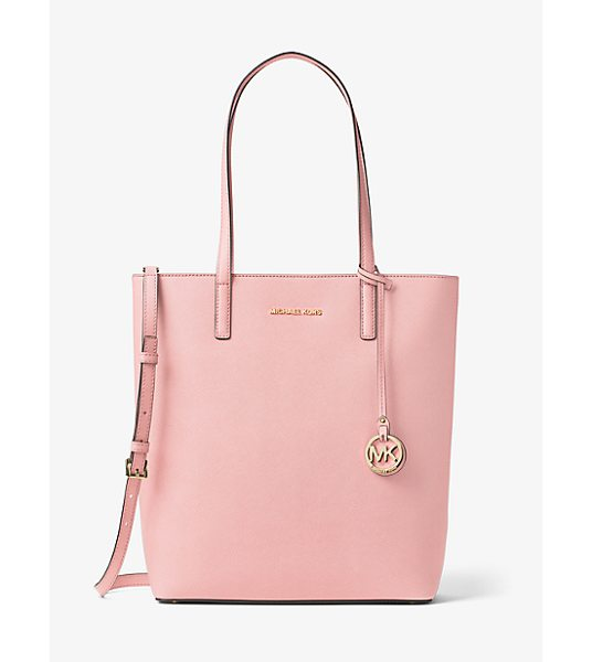 MICHAEL Michael Kors Hayley Large Top-Zip Leather Tote in pink - Meet Hayley: A Spacious Carryall With Signature Style....