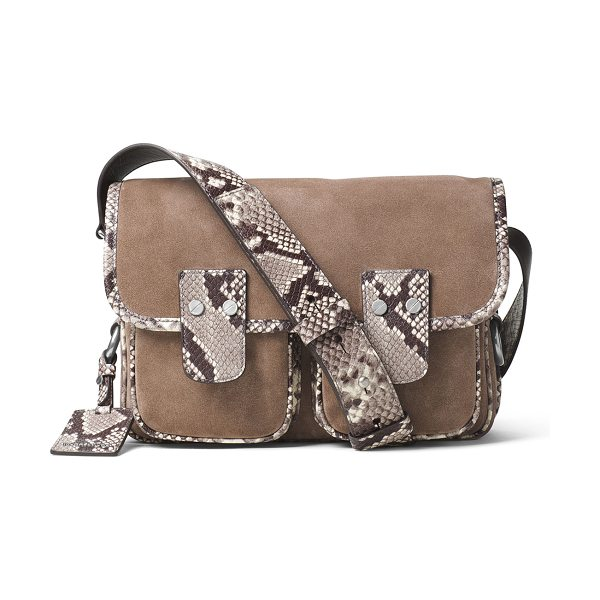 MICHAEL MICHAEL KORS Hewitt large suede messenger bag in dark dune - MICHAEL Michael Kors suede and luxe python-embossed...