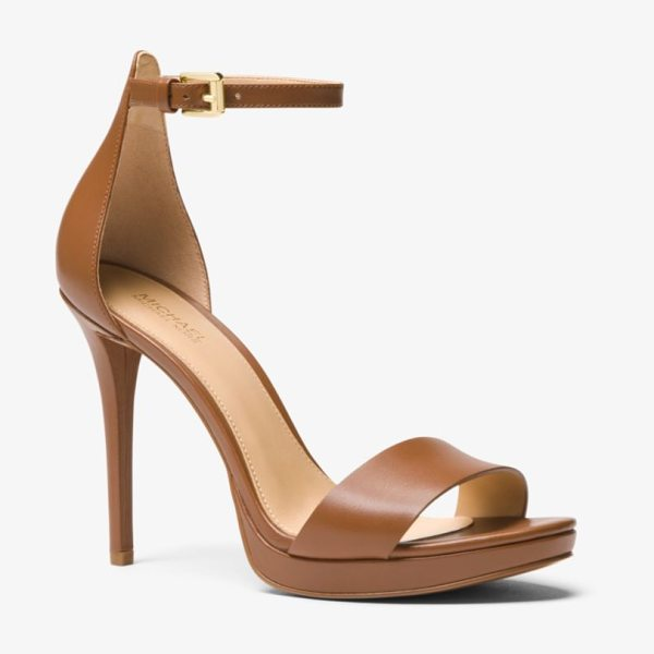 MICHAEL Michael Kors Hutton Leather Sandal in brown - Luxe Leather Construction And A Stiletto Heel Combine To...