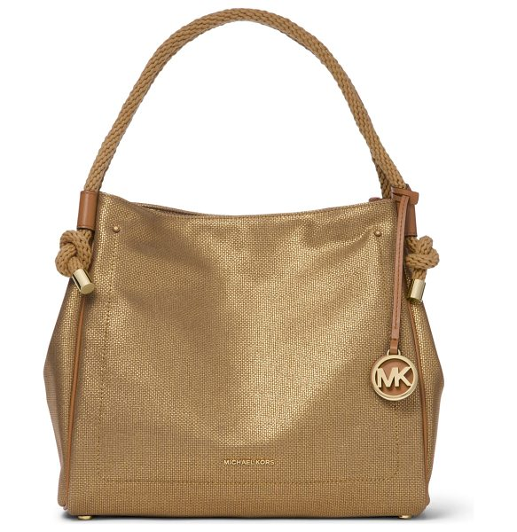 MICHAEL MICHAEL KORS Isla Large Metallic Leather Tote Bag in gold - MICHAEL Michael Kors tote bag in metallic canvas with...