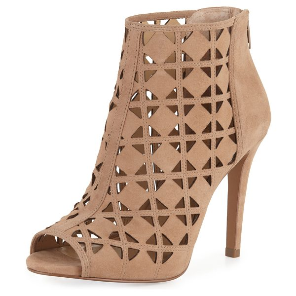"""MICHAEL Michael Kors Ivy Laser-Cut Open-Toe Bootie in dark khaki - MICHAEL Michael Kors laser-cut suede bootie. 4"""" covered..."""