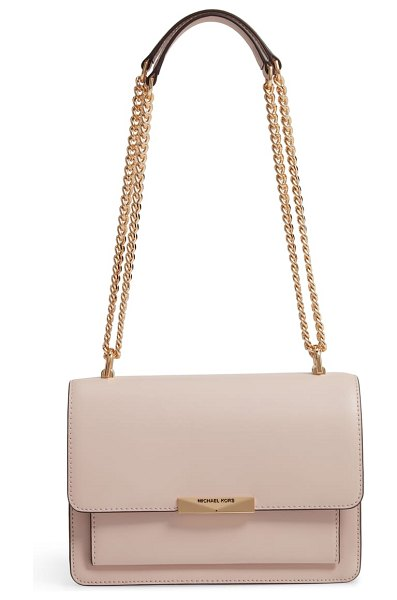 MICHAEL Michael Kors jade leather gusset shoulder bag in pink - A compact gusseted design expands a bit for your daily...