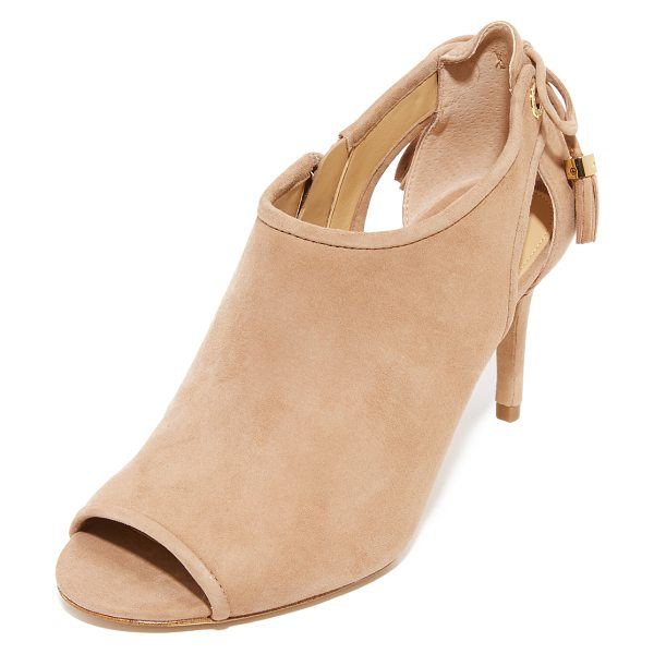 MICHAEL Michael Kors jennings peep toe booties in dk khaki - Suede panels and side cutouts lend a layered look to...