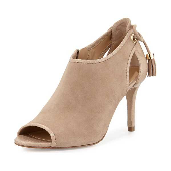 MICHAEL Michael Kors Jennings Suede Bow-Back Mid-Heel Bootie in bisque - MICHAEL Michael Kors kid suede and snake-embossed...