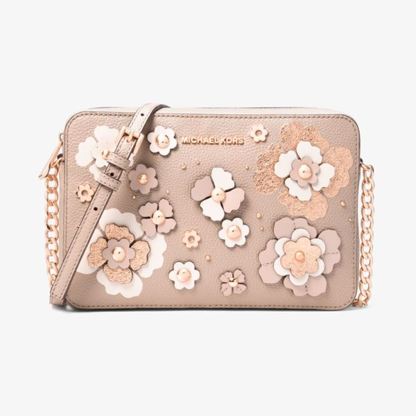 MICHAEL Michael Kors Jet Set Floral Embellished Leather Crossbody in pink - Structured In A Clean-Lined Silhouette Crafted From...