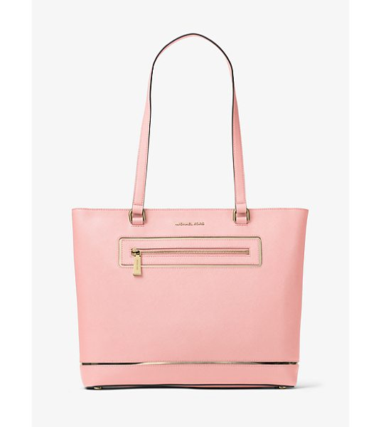 MICHAEL Michael Kors Jet Set Large Leather Tote in pink - Meet Your New Everyday Favorite. This Effortlessly...