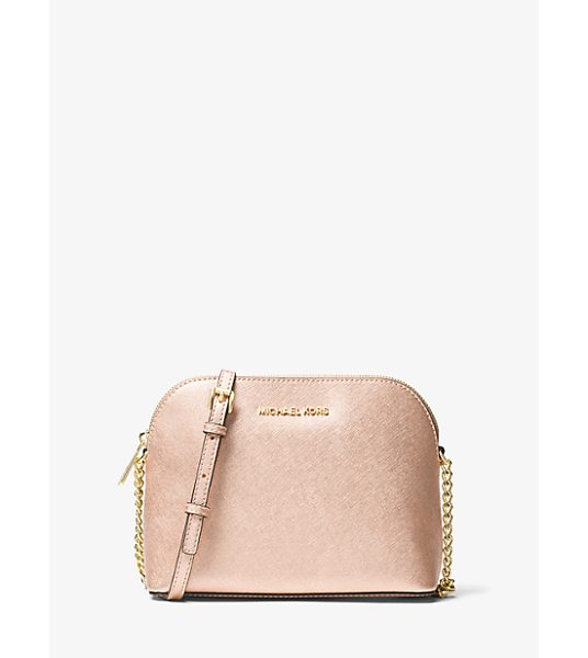 MICHAEL Michael Kors Cindy Large Metallic Leather Crossbody in pink - The Spacious-Yet-Compact Jet Set Crossbody Is Classic...