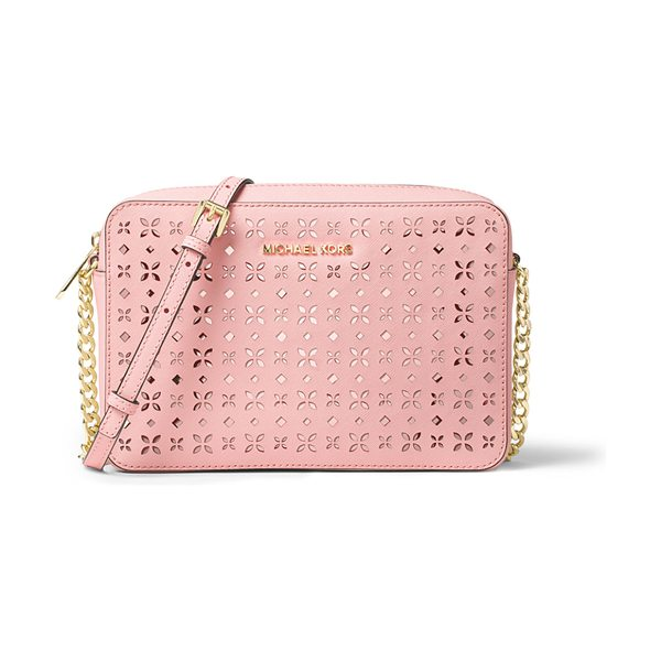 MICHAEL MICHAEL KORS Jet set laser-cut large crossbody bag in blossom/ballet - MICHAEL Michael Kors floral laser-cut saffiano leather...