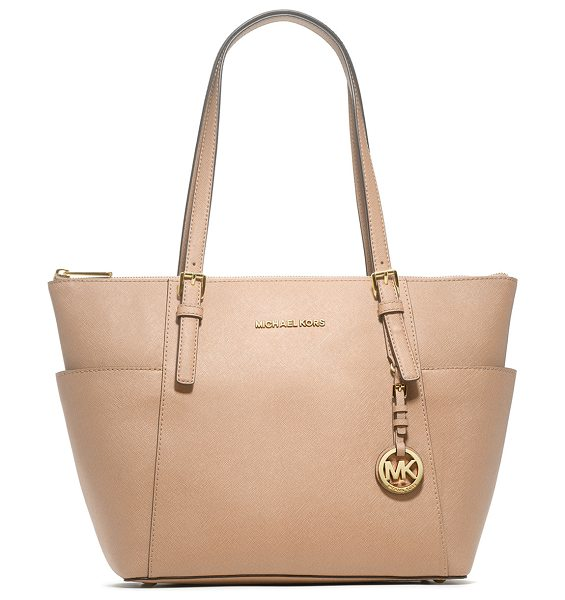 MICHAEL Michael Kors Jet Set Top-Zip Saffiano Tote Bag in fawn - MICHAEL Michael Kors saffiano leather tote bag with...
