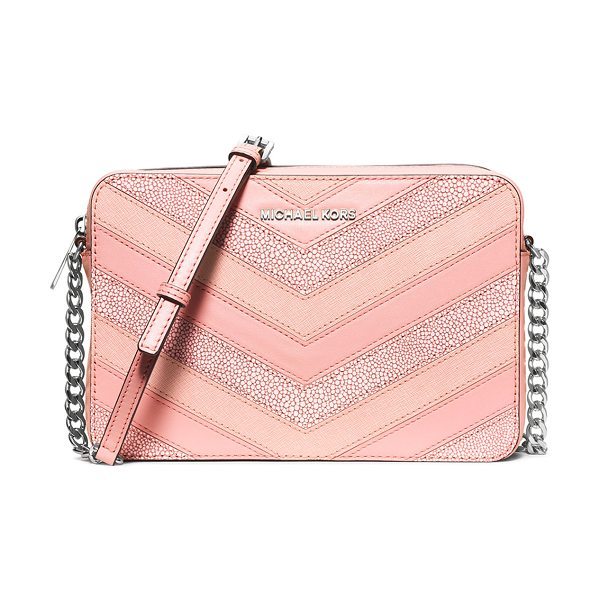 MICHAEL MICHAEL KORS Jet set travel large chevron-patch crossbody bag in pale pink - MICHAEL Michael Kors shagreen, smooth, and saffiano...