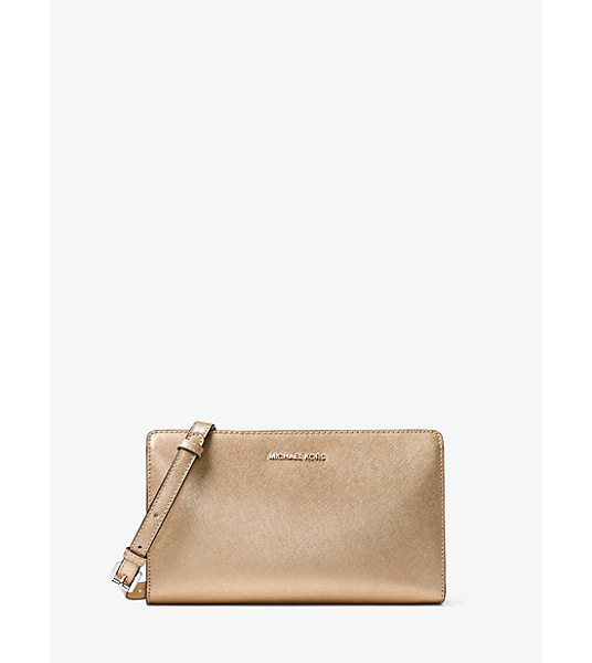 MICHAEL Michael Kors Jet Set Travel Large Convertible Leather Crossbody in gold - Beauty And Brains—this Streamlined Crossbody Is The...