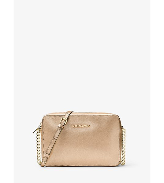 MICHAEL Michael Kors Jet Set Travel Large Metallic Leather Crossbody in gold - Beauty And Brains—this Bag Is The Complete Package In...
