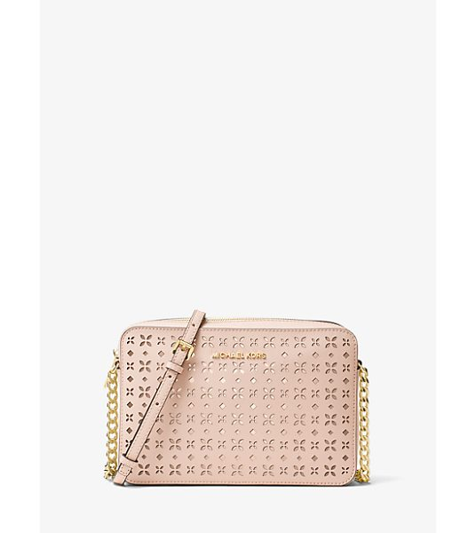 MICHAEL Michael Kors Jet Set Travel Large Perforated-Leather Crossbody in pink - Cruise Through The Season With Fabulous Accessories From...