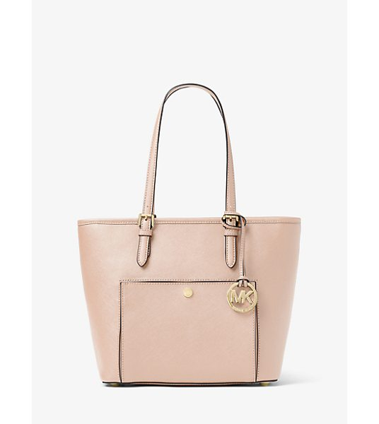 MICHAEL Michael Kors Jet Set Travel Medium Leather Tote in pink - This Classic Carryall Is Just The Ticket For On-The-Go...