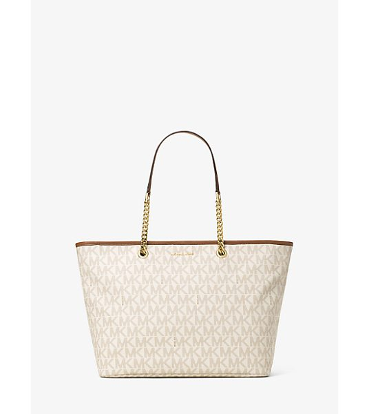 MICHAEL Michael Kors Jet Set Travel Medium Logo Tote in natural - A Cool Classic This Jet Set Travel Tote Is Designed In...