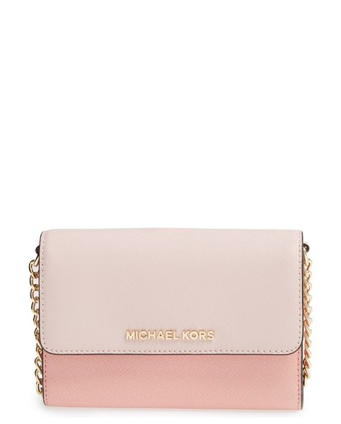MICHAEL Michael Kors Jet set travel saffiano leather crossbody bag in blsm/ppink - Raised logo letters grace the scratch-resistant Saffiano...