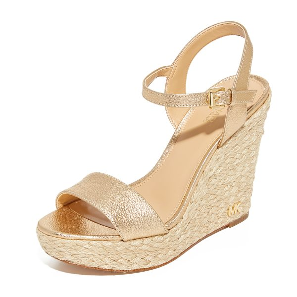 MICHAEL Michael Kors jill wedges in pale gold - Crackled metallic MICHAEL Michael Kors wedges styled...
