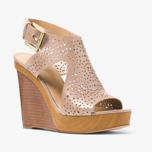MICHAEL Michael Kors Josephine Perforated Leather Wedge in natural - Crafted In Perforated Leather With A Stacked Heel The...