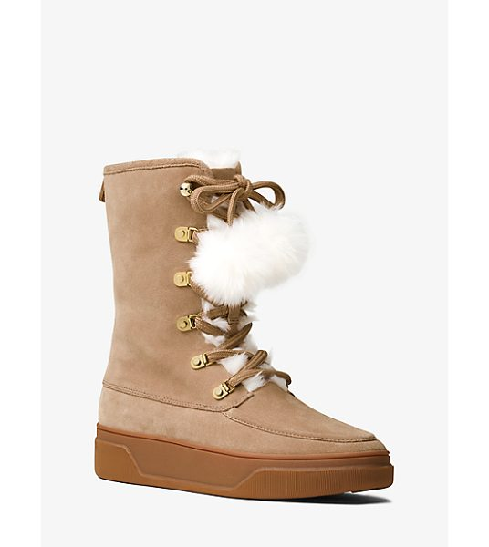 MICHAEL MICHAEL KORS Juno Suede And Fur Boot - Lush Fur Pom-Poms Lend A Luxe Air To Our Juno Boots In...